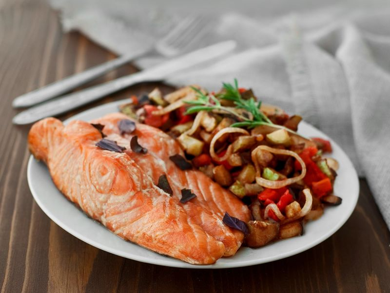 Baked salmon and ratatouille